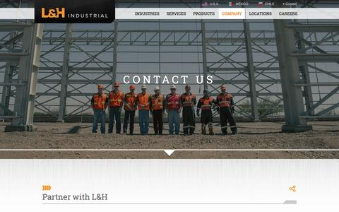 Screenshot of Contact Page lnh.net - Contact Us | L&H Industrial - captured Jan. 23, 2016