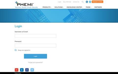 Screenshot of Login Page phemi.com - Login - PHEMI - captured July 3, 2016
