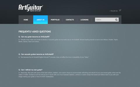 Screenshot of FAQ Page artguitar.com - FAQs - captured Oct. 1, 2014
