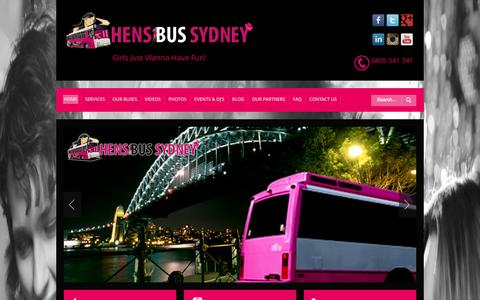 Screenshot of Home Page hensbussydney.com.au - Hens Night Party in Sydney - captured Sept. 30, 2014
