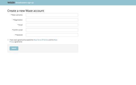 Screenshot of Landing Page waze.com - Waze Advertisers Dashboard - captured May 11, 2016