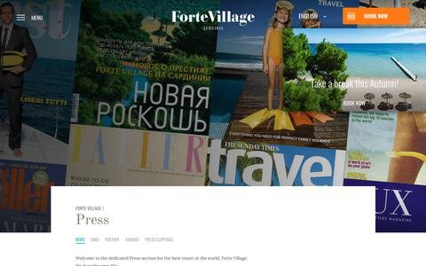 Screenshot of Press Page fortevillageresort.com - Press - Forte Village Resort - captured Aug. 20, 2018