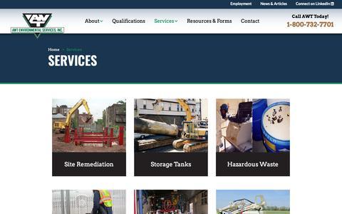 Screenshot of Services Page awtenv.com - AWT Environmental Services - A Leading Environmental Contractor - captured Nov. 20, 2018