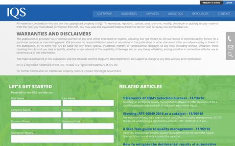 Screenshot of Terms Page iqs.com - Legal Notice & Terms of Use | IQS, Inc. - captured Nov. 19, 2016