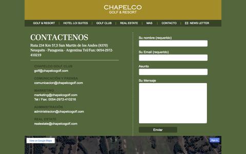 Screenshot of Contact Page chapelcogolf.com - Contacto | Chapelco Golf & Resort - captured Oct. 1, 2014
