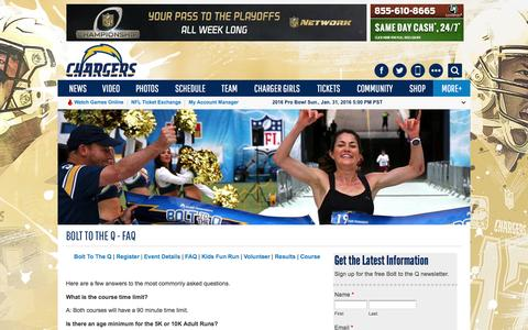 Screenshot of FAQ Page chargers.com - Bolt To The Q - FAQ   San Diego Chargers - captured Jan. 20, 2016