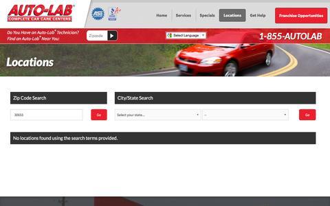 Screenshot of Locations Page autolabusa.com - Locations - Auto-Lab Complete Car Care Centers - captured Feb. 6, 2016