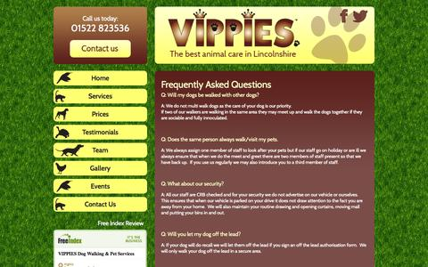 Screenshot of FAQ Page vipslincoln.co.uk - Frequently Asked Questions - VIPPIES Pet Services - The best animal care in Lincolnshire - captured Oct. 7, 2014