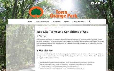 Screenshot of Terms Page townoforangepark.com - Web Site Terms and Conditions of Use - Town of Orange Park - captured Oct. 20, 2018