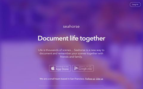 Screenshot of Home Page seahorse.co - Seahorse — Document Life Together - captured Sept. 17, 2014