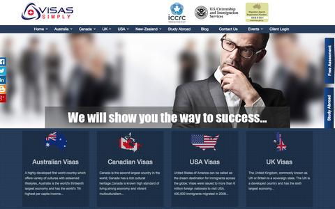 Screenshot of Home Page visassimply.com - Immigration Consultants Australia, Canada, USA, UK, NZ - Visas Simply - captured Oct. 1, 2015