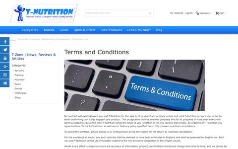 Screenshot of Terms Page t-nutrition.com - Terms and Conditions | Bodybuilding Supplements | T-Nutrition.com | Supplements at T-Nutrition - captured Nov. 25, 2016