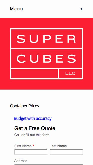 Screenshot of Pricing Page  supercubes.com - Pricing — Shipping Containers at a Fair Price | Super Cubes LLC, 1-877-374-5452