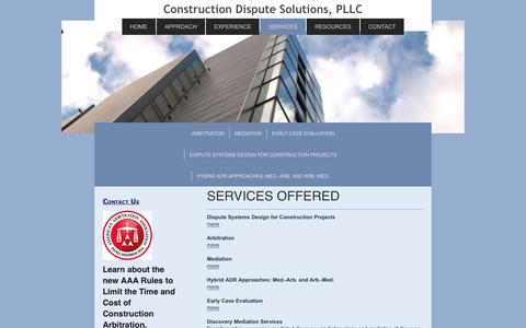 Screenshot of Services Page construction-dispute-solutions.com - Construction Dispute Resolution Services, PLLC - SERVICES - captured Aug. 25, 2017