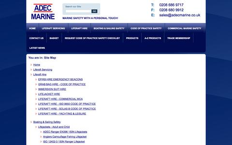 Screenshot of Site Map Page adecmarine.co.uk - Site Map - Adec Marine - captured Oct. 1, 2014