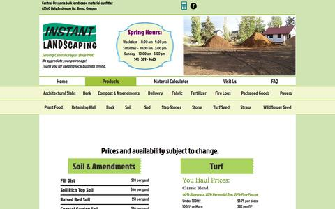 Screenshot of Products Page instantlandscaping.com - Instant Landscaping Co. | Products - captured April 23, 2017