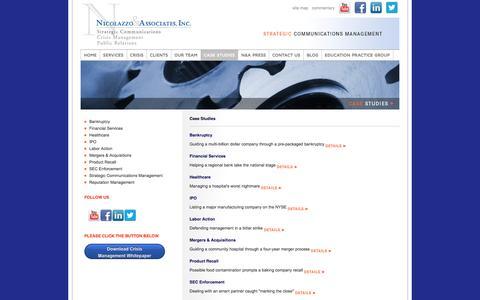 Screenshot of Case Studies Page nicolazzo.com - Issues Management | Message Development | Strategic Planning | - captured Feb. 14, 2016