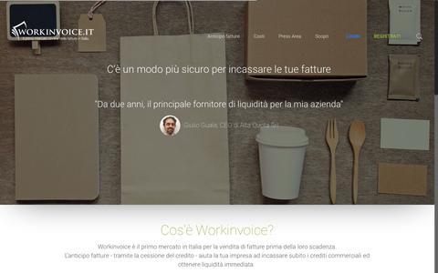 Screenshot of Home Page workinvoice.it - Workinvoice, Cedi le fatture che vuoi e ricevi il pagamento in tempi rapidi - captured Sept. 24, 2018