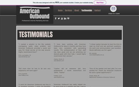 Screenshot of Testimonials Page wixsite.com - Testimonials - captured Nov. 4, 2018