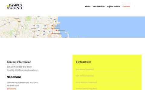 Screenshot of Contact Page campusbound.com - Contact – Campus Bound - captured July 15, 2018