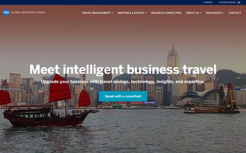 Screenshot of Home Page amexglobalbusinesstravel.com - Corporate Travel Management | American Express Global Business Travel - captured Sept. 24, 2018