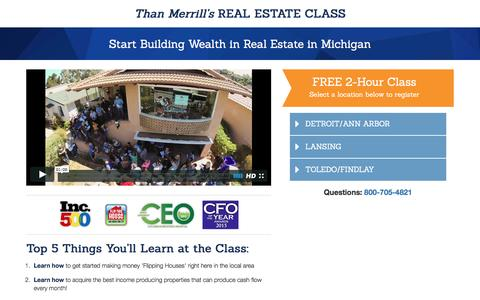 Screenshot of Landing Page fortunebuilders.com - Than Merrill's Real Estate Class - captured May 24, 2016