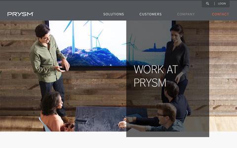 Screenshot of Jobs Page prysm.com - Careers At Prysm - captured Nov. 15, 2016