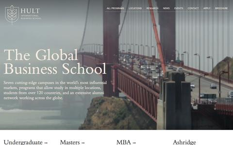 Screenshot of Home Page hult.edu - Hult International Business School - The Global Business School - captured Feb. 8, 2016