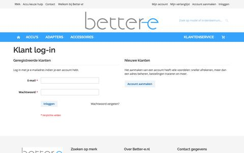 Screenshot of Login Page better-e.nl - Klant log-in - captured Oct. 5, 2018