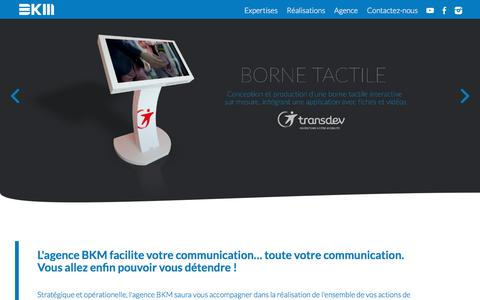 Screenshot of Home Page bkmprod.com - Agence de communication - captured July 11, 2018