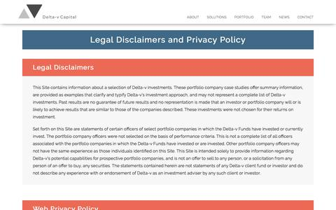 Screenshot of Privacy Page deltavcapital.com - Disclaimer - Delta-v Capital - captured Dec. 7, 2017