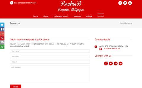 Screenshot of Contact Page rachieb.co.uk - Contact us - Rachie B Bespoke Wallpaper - captured Aug. 17, 2016