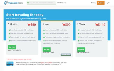 Screenshot of Pricing Page gymaround.com - Membership Card | From Gyms in Hong Kong to London - captured Oct. 29, 2014