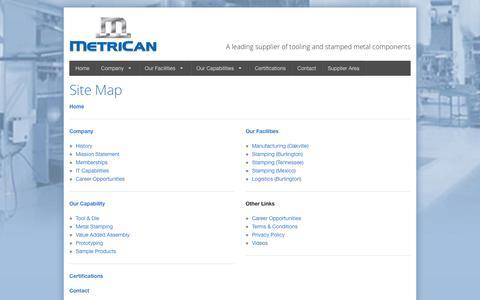 Screenshot of Site Map Page metrican.com - Site Map - captured June 10, 2017