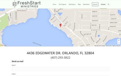 Screenshot of Contact Page freshstartministries.com - Contact Us   Fresh Start Ministries - captured Feb. 10, 2016