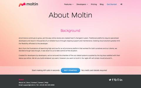 Screenshot of About Page molt.in - About Moltin | Moltin - captured Sept. 23, 2014