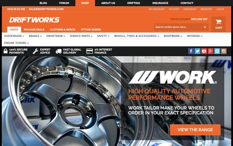 Screenshot of Home Page driftworks.com - Driftworks, Drift performance parts direct to your door - captured Dec. 11, 2015