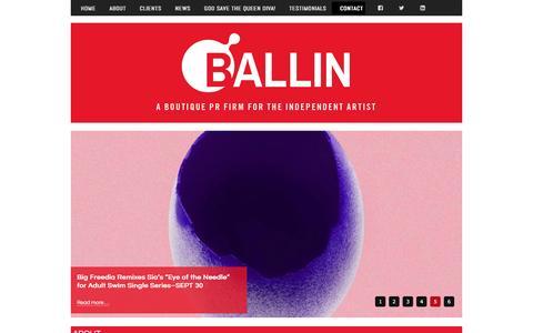 Screenshot of Contact Page ballinpr.com - Contact - captured Dec. 29, 2015