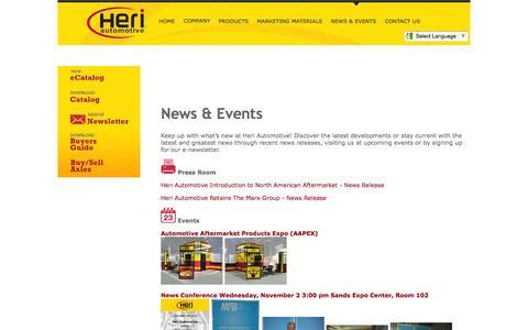 Screenshot of Press Page heriautomotive.com - Heri Automotive, Inc.   Premium-Quality 100% New Constant Velocity Drive Axle Supplier    News - captured Oct. 2, 2014