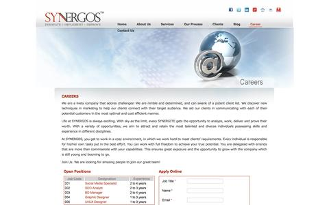 Screenshot of Jobs Page synergostech.com - SYNERGOS | Careers - captured Oct. 8, 2014
