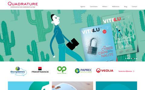 Screenshot of Home Page agence-quadrature.com - Agence Quadrature - Communication corporate & RSE et Nudge - captured Sept. 28, 2018
