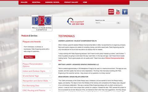 Screenshot of Testimonials Page pellaengraving.com - Testimonials - captured Oct. 2, 2014