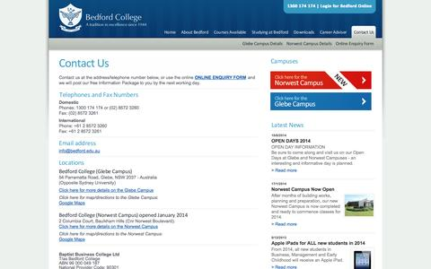 Screenshot of Contact Page bedford.edu.au - Contact Us - captured Oct. 27, 2014
