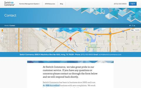 Screenshot of Contact Page switchcommerce.com - Contact - Switch Commerce - captured Oct. 9, 2014