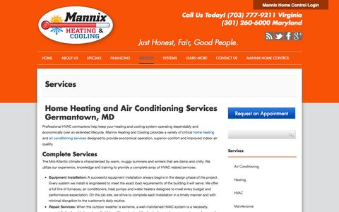Screenshot of Services Page mannixhvac.com - Home Heating and Air Conditioning Services Germantown, MD - captured Oct. 3, 2014