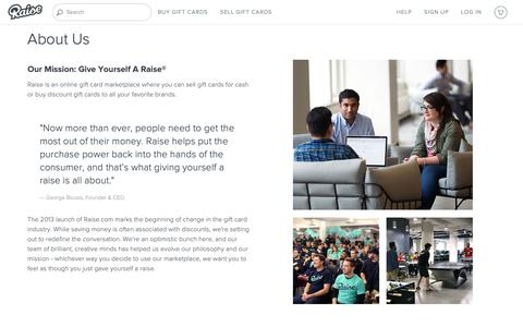 Screenshot of About Page raise.com - About Raise - Raise - captured April 29, 2019