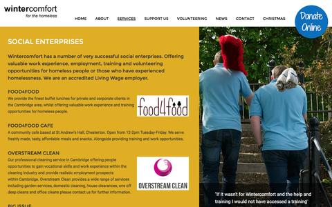 Screenshot of Services Page wintercomfort.org.uk - Employment and volunteering for homeless people in Cambridge - captured Nov. 30, 2016