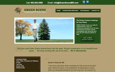 Screenshot of Testimonials Page greenscenemn.com - Testimonials - Green SceneGreen Scene - captured Oct. 3, 2014