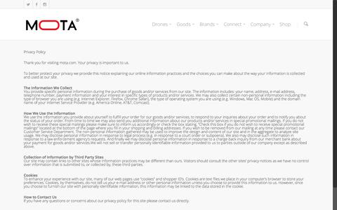 Screenshot of Privacy Page mota.com - Privacy Policy    Mota Group, Inc   United States - captured Sept. 23, 2017
