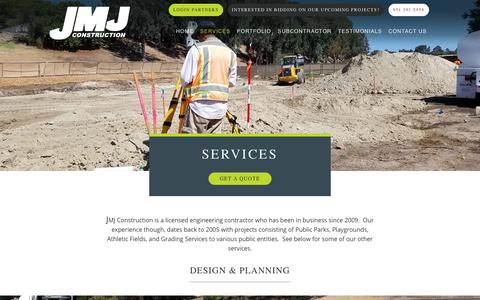 Screenshot of Services Page jmjcon.net - SERVICES - JMJ Construction - captured Oct. 5, 2017